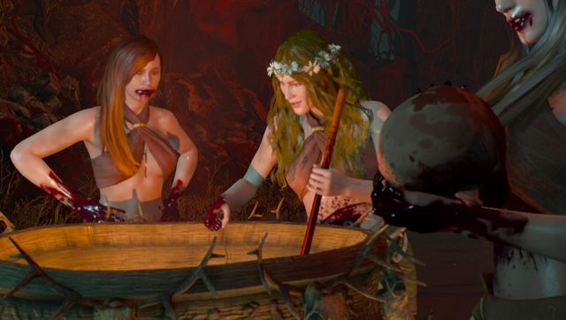 最奥では、3人の美女達が鍋の近くでくつろいでいた。 人間の頭部を撫で回す美女の口は血だらけ、鍋の中身でかき回した血を味見している、異様な光景だった。